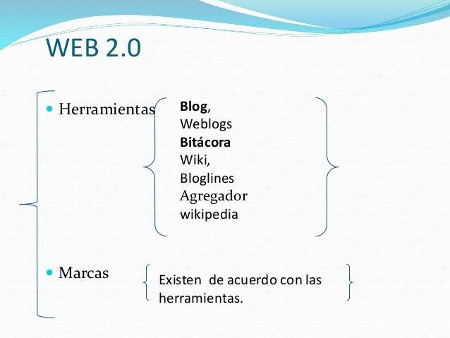 WEB 2.0  Herramientas  Marcas Blog, Weblogs Bitácora Wiki, Bloglines Agregador wikipedia Existen de acuerdo con las herr...