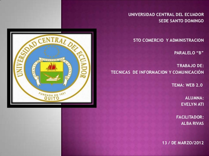 UNIVERSIDAD CENTRAL DEL ECUADOR                    SEDE SANTO DOMINGO         5TO COMERCIO Y ADMINISTRACION               ...