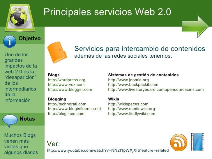 Principales servicios Web 2.0      Objetivo                                Servicios para intercambio de contenidosUno de ...