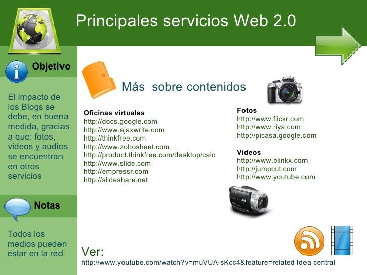 Principales servicios Web 2.0      Objetivo                              Más sobre contenidosEl impacto delos Blogs se    ...