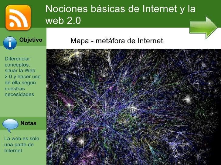 Nociones básicas de Internet y la                  web 2.0      Objetivo         Mapa - metáfora de InternetDiferenciarcon...