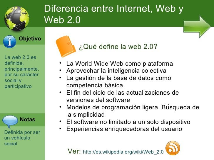Diferencia entre Internet, Web y                   Web 2.0      Objetivo                            ¿Qué define la web 2.0...