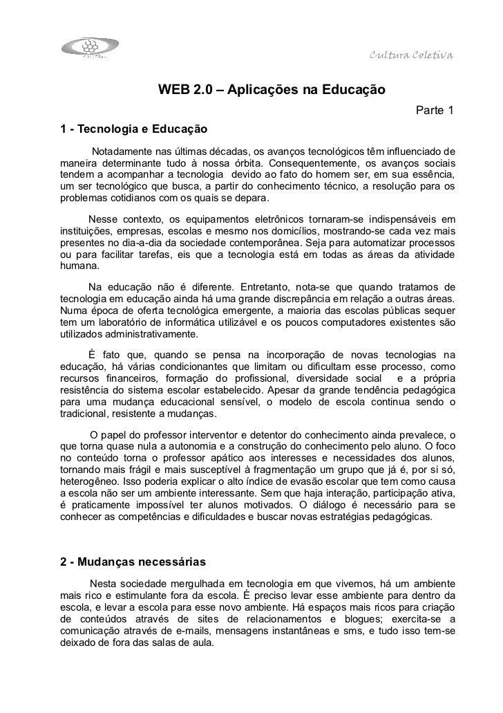 Cultura Coletiva                     WEB 2.0 – Aplicações na Educação                                                     ...