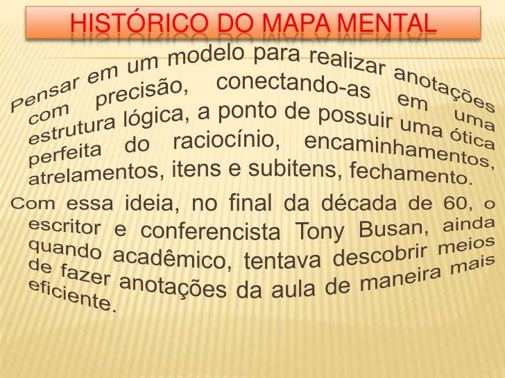 Histórico do mapa mental<br />Pensar em um modelo para realizar anotações com precisão, conectando-as em uma estrutura lóg...