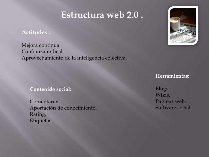 Estructura web 2.0 .<br />Actitudes :<br />Mejora continua.<br />Confianza radical.<br />Aprovechamiento de la inteligenci...