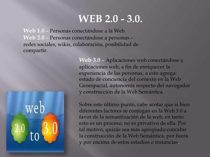 WEB 2.0 - 3.0.<br />Web 1.0 – Personas conectándose a la Web.<br />Web 2.0 – Personas conectándose a personas – redes soci...