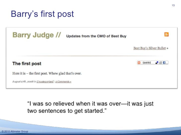 """Barry's first post<br />13<br />""""I was so relieved when it was over—it was just two sentences to get started."""" <br />"""
