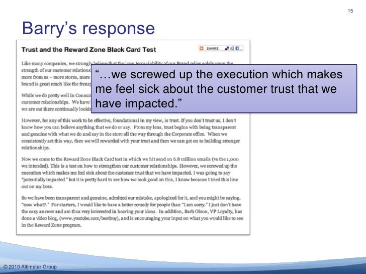 """Barry's response<br />15<br />""""…we screwed up the execution which makes me feel sick about the customer trust that we have..."""