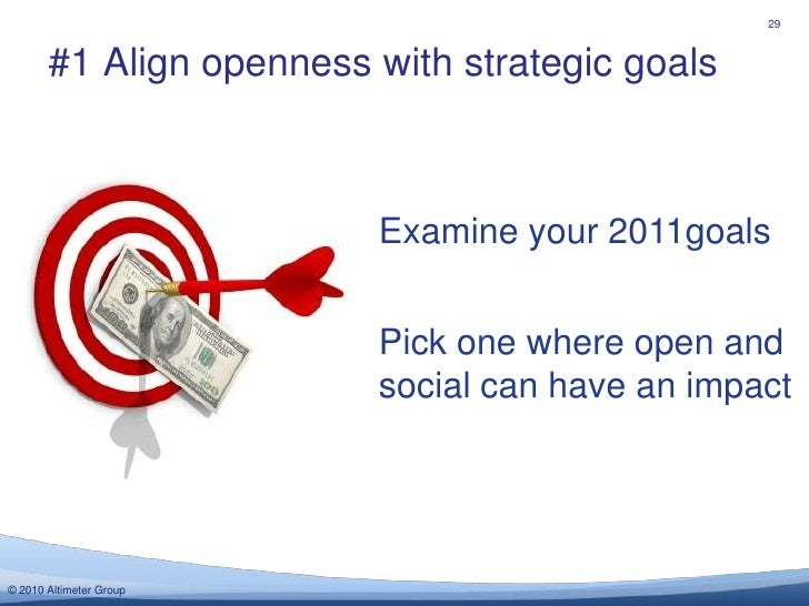 #1 Align openness with strategic goals<br />29<br />Examine your 2011goals<br />Pick one where open and social can have an...