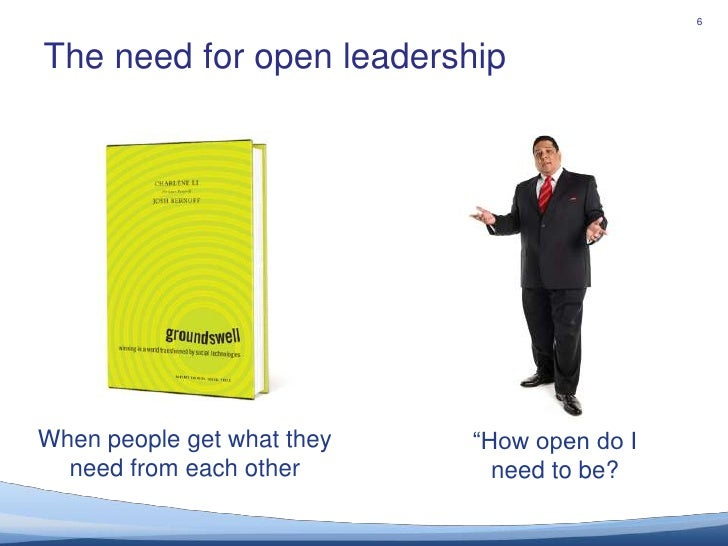 "The need for open leadership			<br />6<br />When people get what they need from each other<br />""How open do I need to be?..."