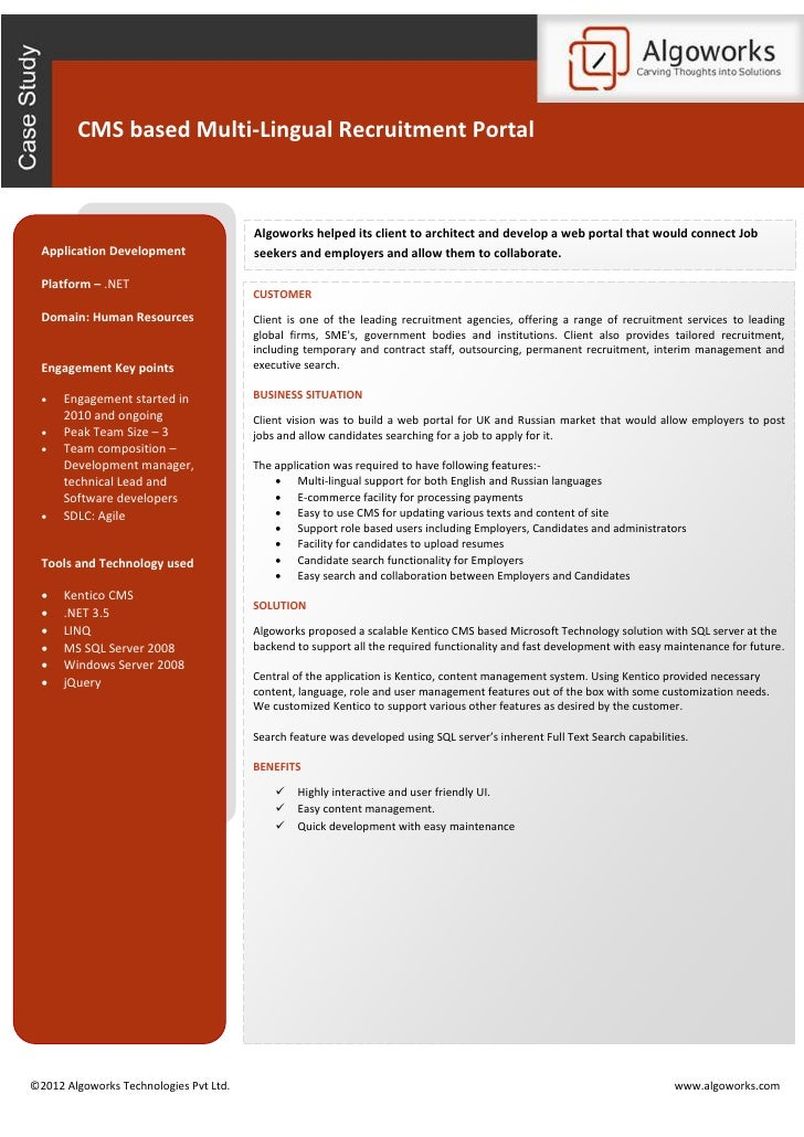 CMS based Multi-Lingual Recruitment Portal                                        Algoworks helped its client to architect...