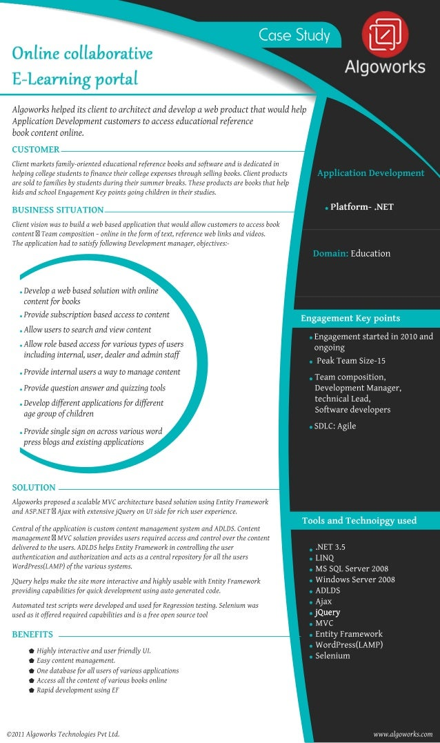 CaseStudy Algoworkshelpeditsclienttoarchitectanddevelopawebproductthatwouldhelp ApplicationDevelopmentcustomerstoaccessedu...