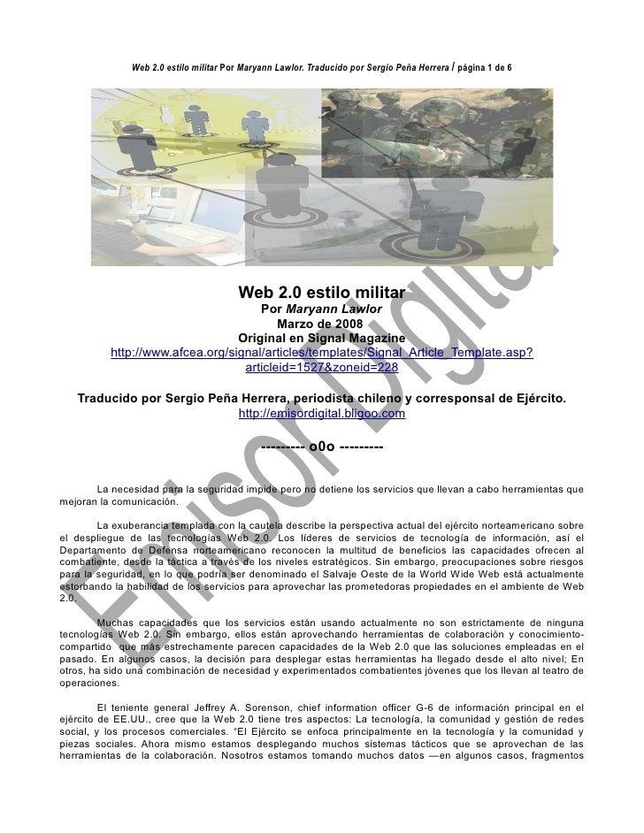 Web 2.0 estilo militar Por Maryann Lawlor. Traducido por Sergio Peña Herrera / página 1 de 6                              ...