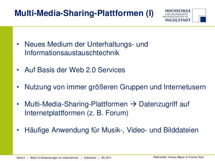 Multi-Media-Sharing-Plattformen (I)<br />Neues Medium der Unterhaltungs- und Informationsaustauschtechnik<br />Auf Basis d...