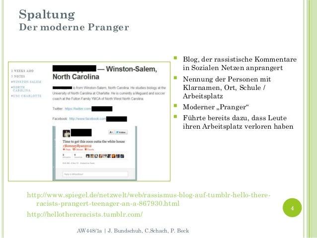 SpaltungDer moderne Pranger                                                       Blog, der rassistische Kommentare      ...