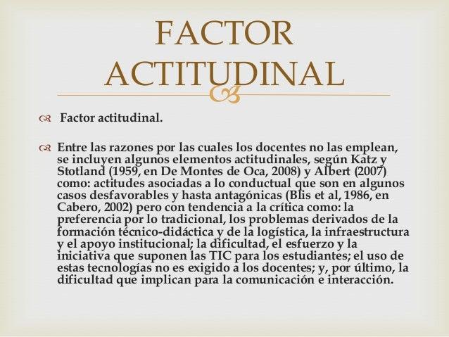 FACTOR           ACTITUDINAL                 Factor actitudinal. Entre las razones por las cuales los docentes no las e...