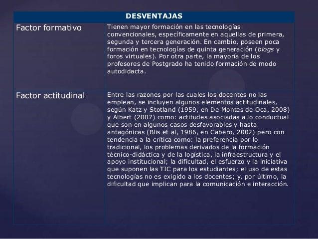 DESVENTAJASFactor formativo     Tienen mayor formación en las tecnologías                     convencionales, específicame...