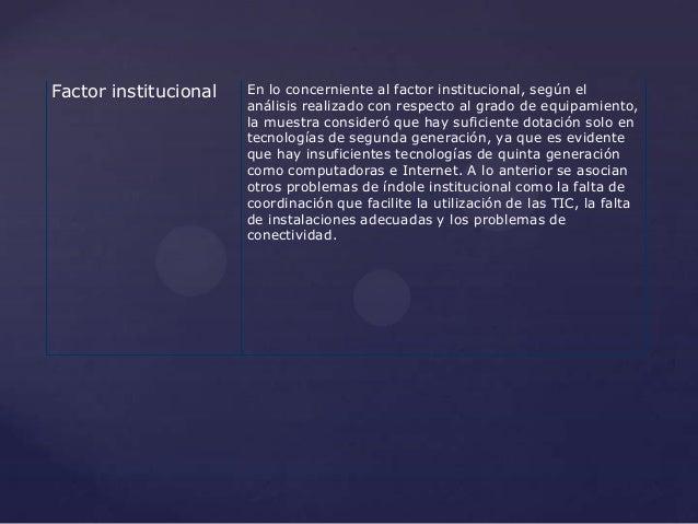 Factor institucional   En lo concerniente al factor institucional, según el                       análisis realizado con r...