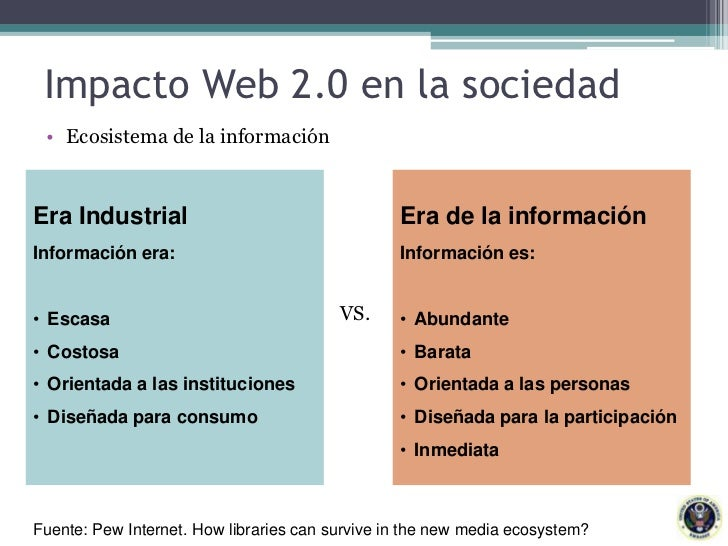 Impacto Web 2.0 en la sociedad<br />Ecosistema de la información<br />Era Industrial<br />Información era:<br /><ul><li>Es...