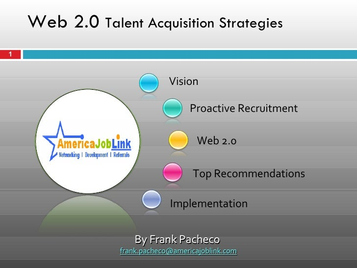 Web 2.0  Talent Acquisition Strategies Vision Implementation Proactive Recruitment Web 2.0 Top Recommendations By Frank Pa...