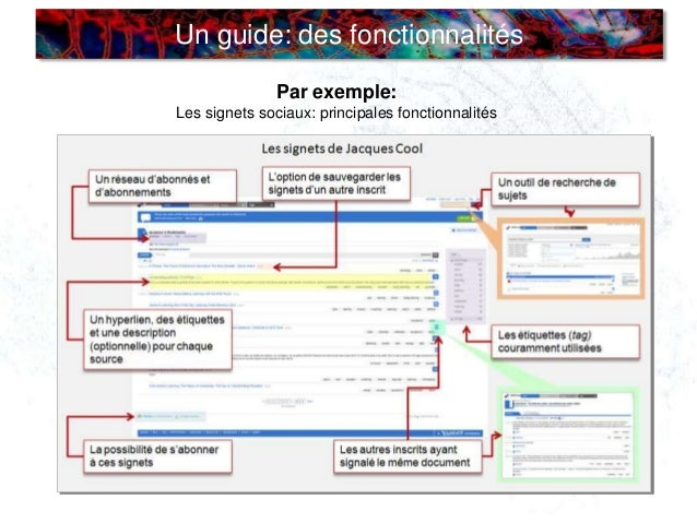 Un guide: des fonctionnalités Par exemple: Les signets sociaux: principales fonctionnalités