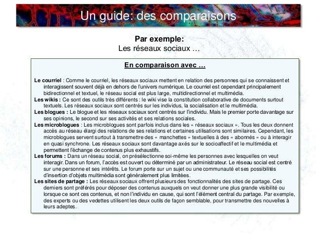 Un guide: des comparaisons Par exemple: Les réseaux sociaux … En comparaison avec … Le courriel : Comme le courriel, les r...