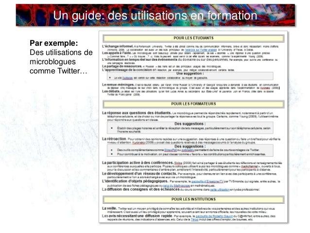 Un guide: des utilisations en formation Par exemple: Des utilisations de microblogues comme Twitter…