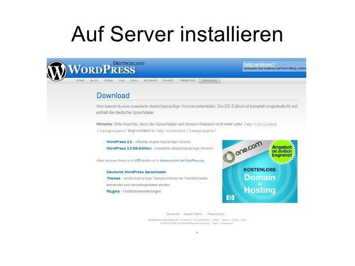 Auf Server installieren