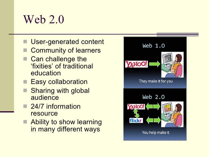 Web 2.0  <ul><li>User-generated content </li></ul><ul><li>Community of learners </li></ul><ul><li>Can challenge the 'fixit...