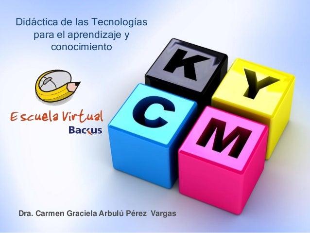Didáctica de las Tecnologías para el aprendizaje y conocimiento Dra. Carmen Graciela Arbulú Pérez Vargas