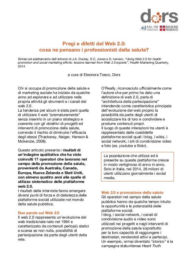 Pregi e difetti del Web 2.0:  cosa ne pensano i professionisti della salute?  Sintesi ed adattamento dell'articolo di J.A....