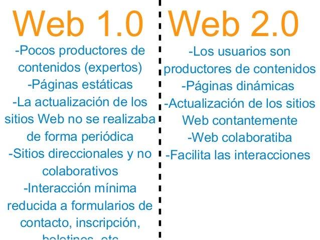Web 1.0 Web 2.0 -Pocos productores de contenidos (expertos) -Páginas estáticas -La actualización de los sitios Web no se r...