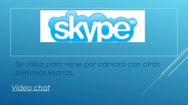 Click icon to add picture Video chat Se utiliza para verse por cámara con otras personas lejanas.