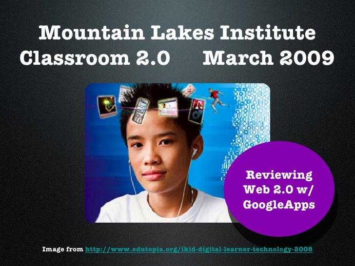 Mountain Lakes Institute Classroom 2.0  March 2009 Reviewing Web 2.0 w/ GoogleApps Image from  http://www.edutopia.org/iki...