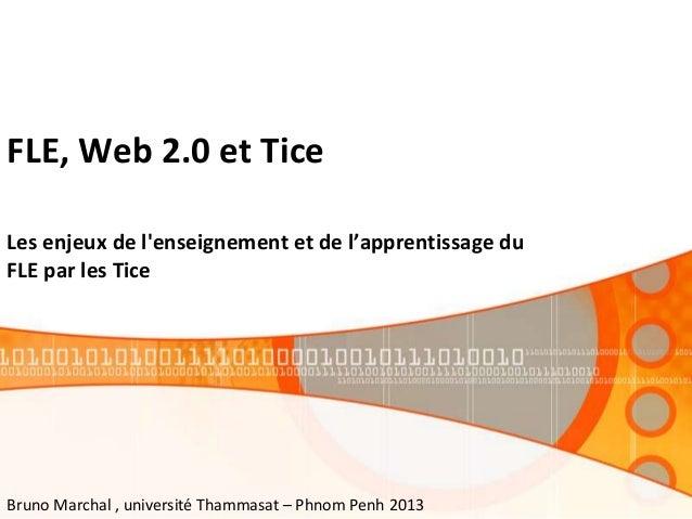 FLE, Web 2.0 et Tice Les enjeux de l'enseignement et de l'apprentissage du FLE par les Tice Bruno Marchal , université Tha...