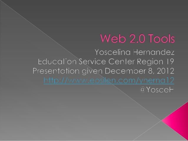 """   """"Web 2.0 Tools"""" refers to online tools    where the user is able to retrieve, create    and or deliver content for lea..."""