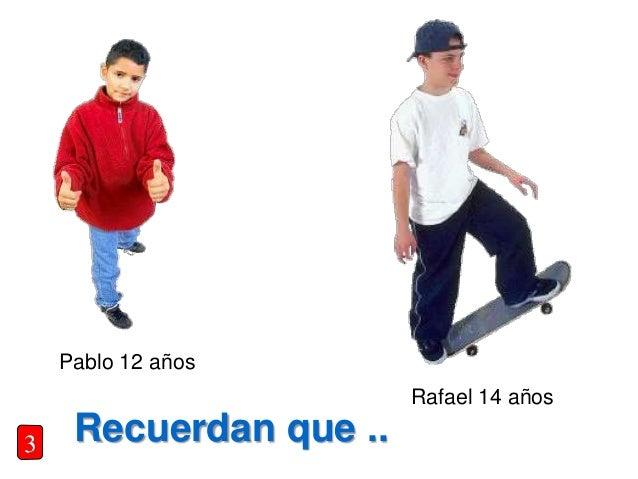 Recuerdan que .. Pablo 12 años Rafael 14 años 3
