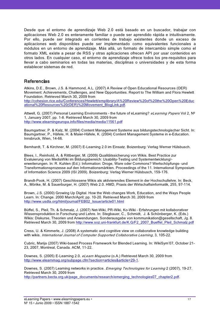 Entorno de aprendizaje de la Web 2 0: Concepto, aplicación y