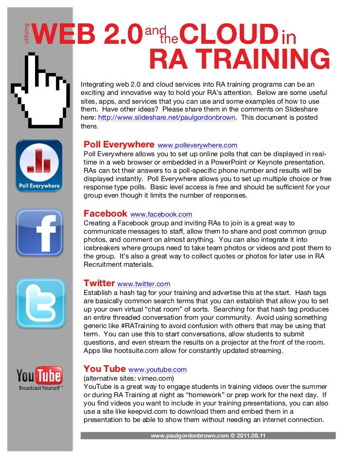 Integrating web 2.0 and cloud services into RA training programs can be anexciting and innovative way to hold your RA's at...