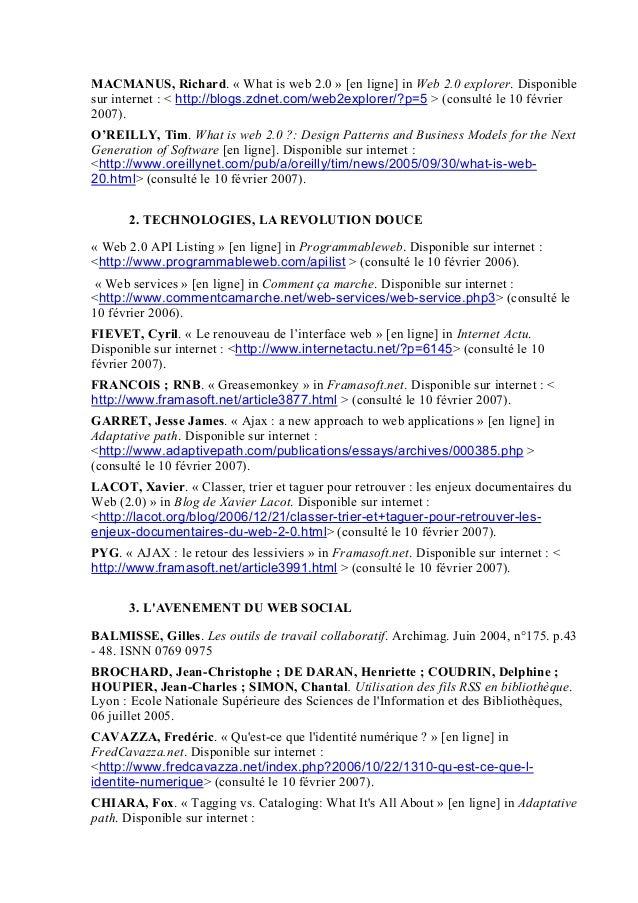 MACMANUS, Richard. « What is web 2.0 » [en ligne] in Web 2.0 explorer. Disponible sur internet : < http://blogs.zdnet.com/...
