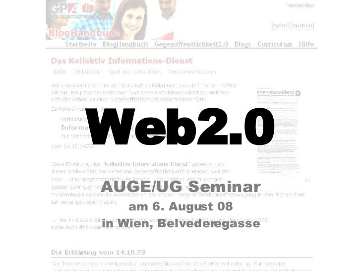 Web2.0 AUGE/UG Seminar am 6. August 08 in Wien, Belvederegasse