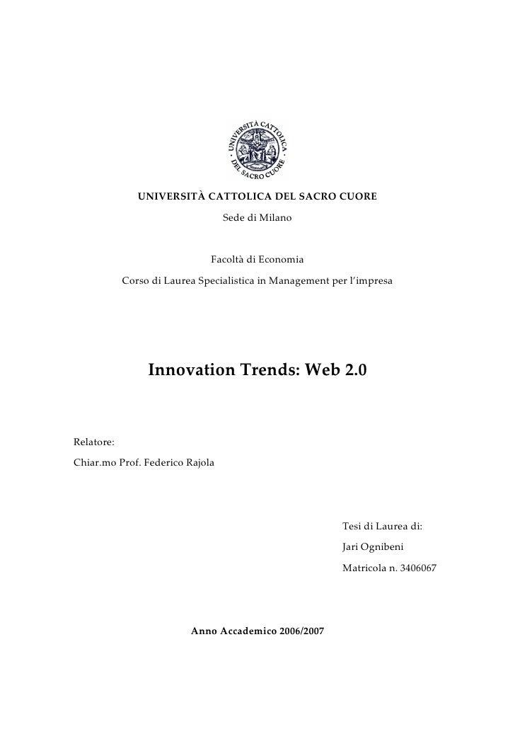 UNIVERSITÀ CATTOLICA DEL SACRO CUORE                                 Sede di Milano                              Facoltà d...