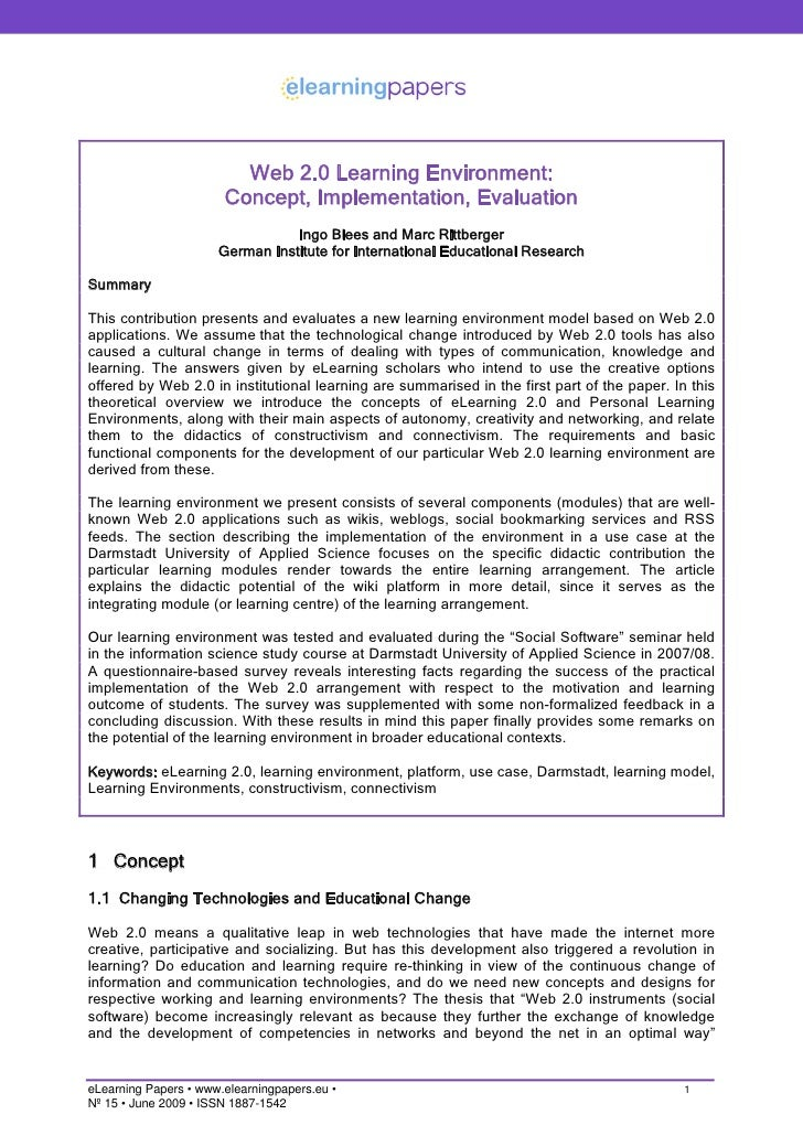Web 2.0 Learning Environment:                        Concept, Implementation, Evaluation                                  ...