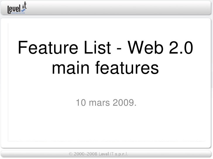 Web 2 0 Main Features