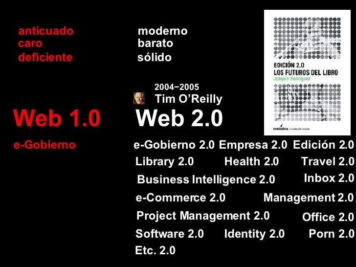 Web 2.0 Web 1.0 barato caro sólido deficiente Empresa 2.0 e-Gobierno 2.0 e-Gobierno Etc. 2.0 Library 2.0 Travel 2.0 Identi...