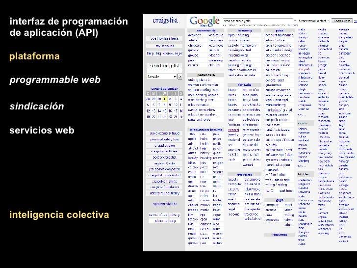 plataforma inteligencia colectiva interfaz de programación de aplicación (API) programmable web sindicación servicios web