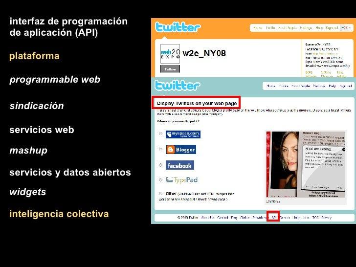 plataforma inteligencia colectiva interfaz de programación de aplicación (API) programmable web sindicación mashup servici...
