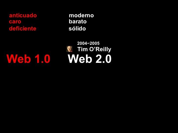Web 2.0 Web 1.0 moderno anticuado barato caro sólido deficiente Tim O'Reilly 2004−2005