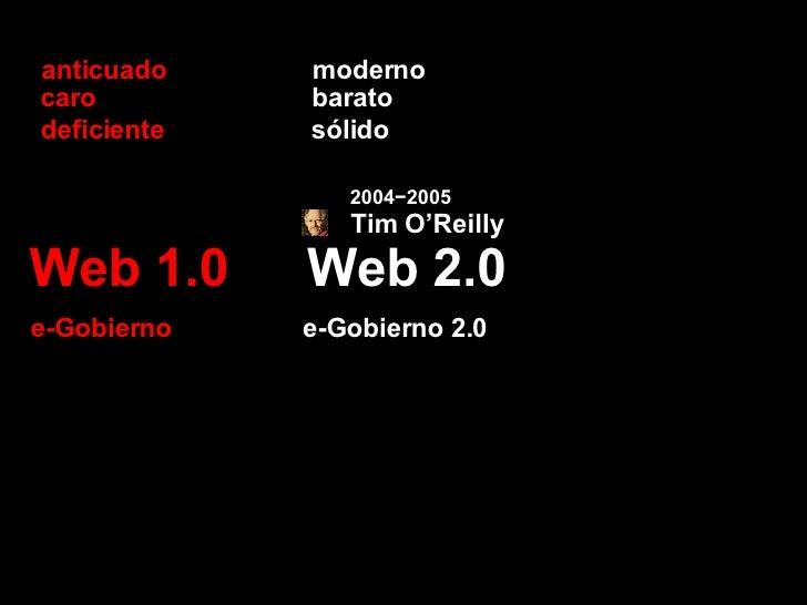Web 2.0 Web 1.0 barato caro sólido deficiente e-Gobierno 2.0 e-Gobierno moderno anticuado 2004−2005 Tim O'Reilly