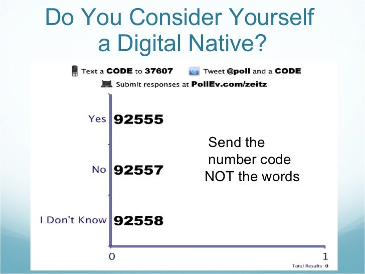 Do You Consider Yourself  a Digital Native? Send the  number code NOT the words